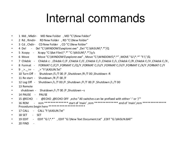 MS Dos commands