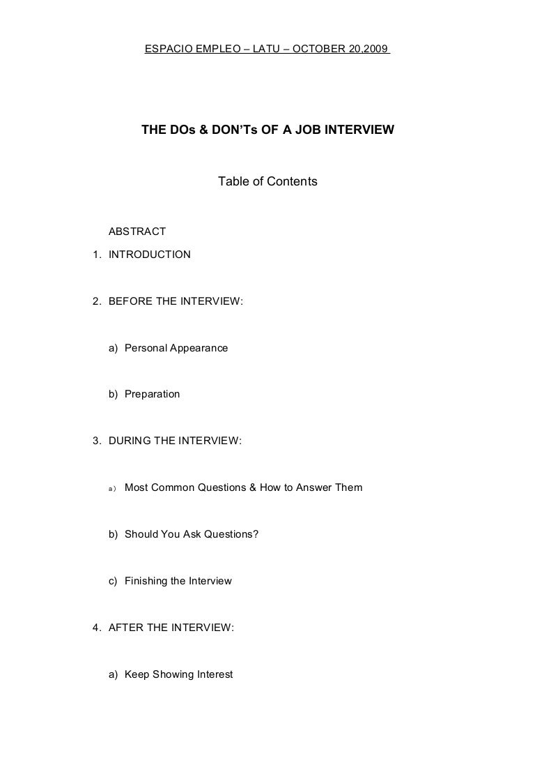 the dos and dont s of job interviews