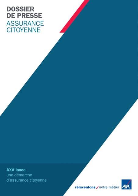 Assurance citoyenne AXA France dossier de presse
