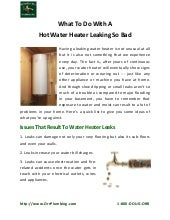What To Do With A Hot Water Heater Leaking So Bad