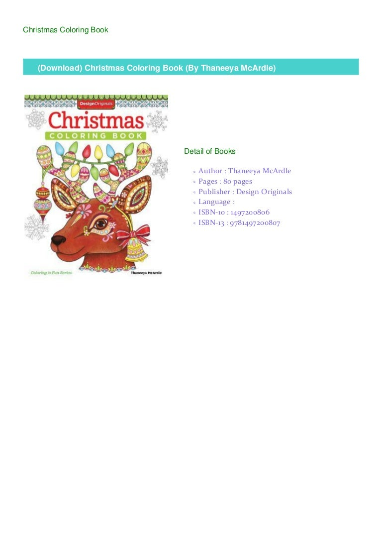 Download Christmas Coloring Book By Thaneeya Mcardle