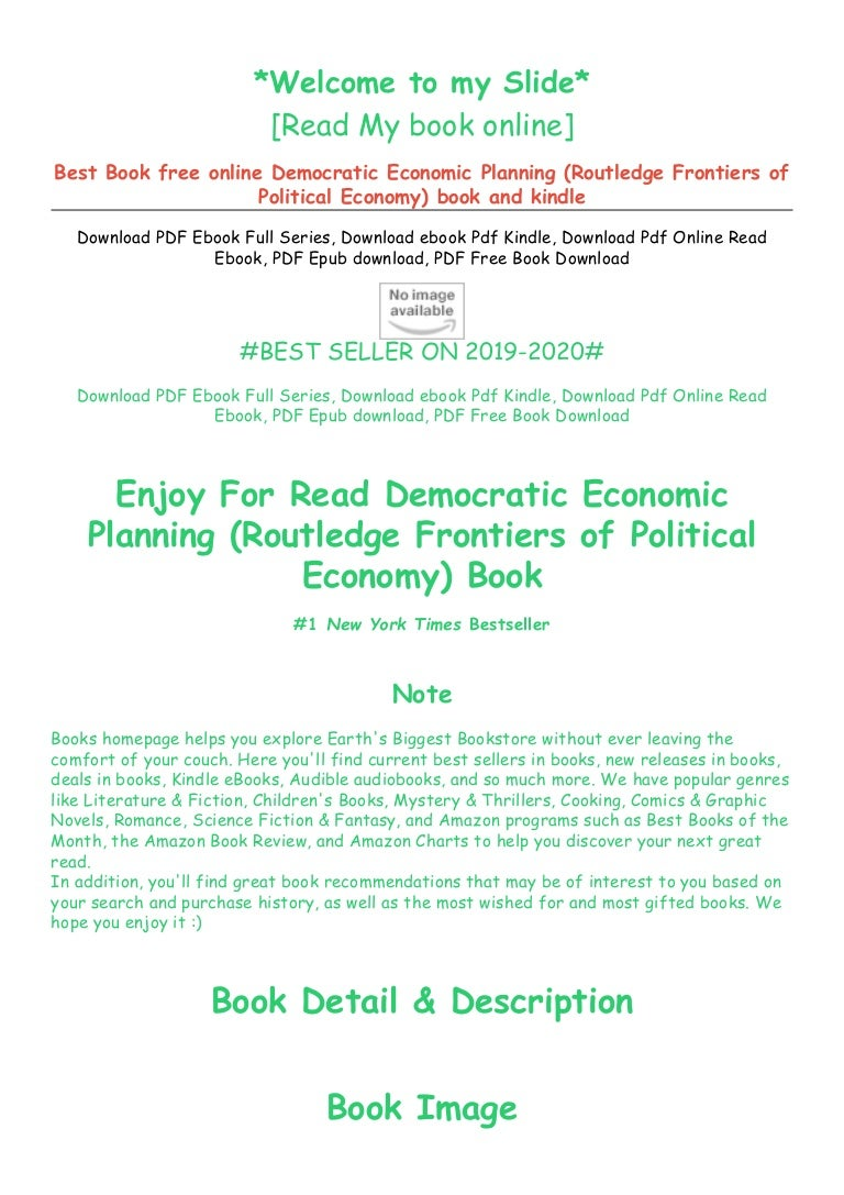 Free [DOWNLOAD IN ^#EPUB (Democratic Economic Planning (Routledge Frontiers of Political Economy) by ) *#FREE