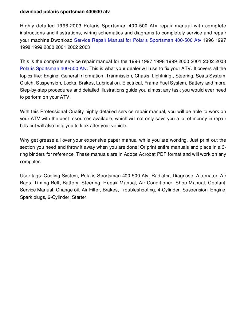 download polaris sportsman 400 500 atv 1996 2003 factory repair manual 1379617560500 130919140603 phpapp02 thumbnail 4?cb=1379599579 download polaris sportsman 400 500 atv 1996 2003 factory repair manual 2002 polaris sportsman 400 wiring diagram at panicattacktreatment.co