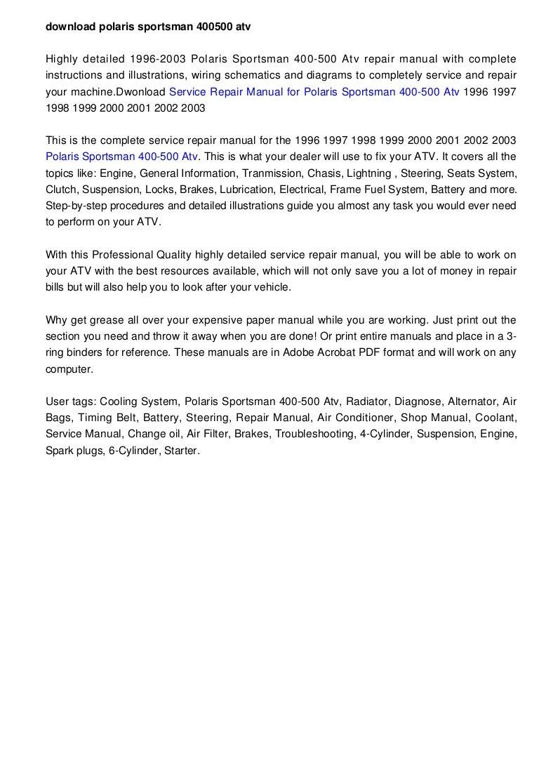 2002 Polaris Scrambler 400 Manual One Word Quickstart Guide Book Ranger Wiring Diagram Download Sportsman 500 Atv 1996 2003 Factory Repair Rh Slideshare Net