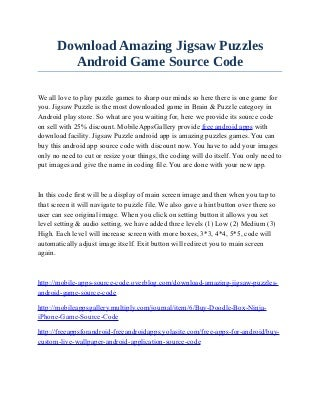 Download Amazing Jigsaw Puzzles Android Game Source Code