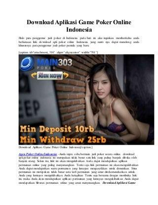 Download aplikasi game poker online indonesia