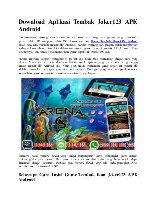 Download aplikasi tembak joker123 apk android