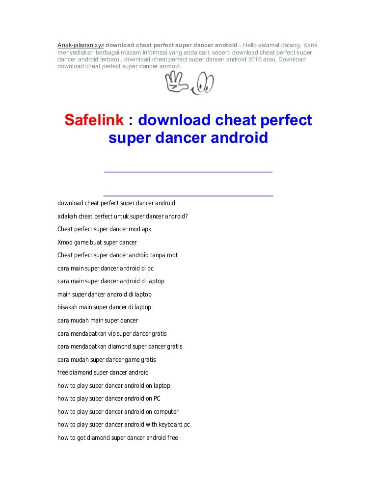 Download cheat perfect super dancer android