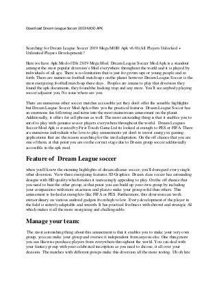 Download dream league soccer 2019 mod apk
