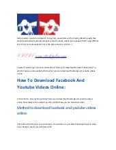 Download facebook and youtube videos online by itoolspedia