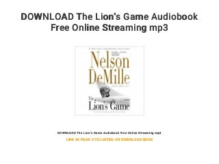 DOWNLOAD The Lion's Game Audiobook Free Online Streaming mp3
