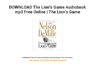 DOWNLOAD The Lion's Game Audiobook mp3 Free Online - The Lion's Game