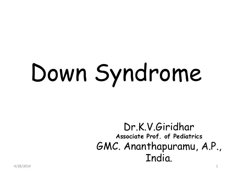 Down Syndrome Ppt For Ugs