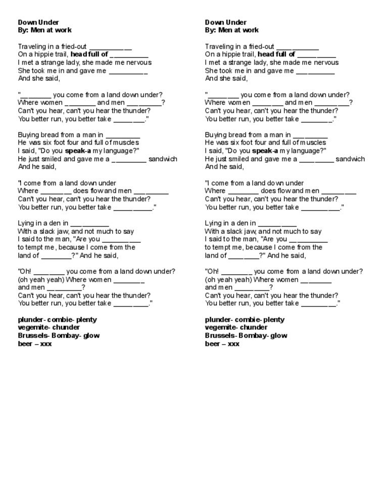Lyric man song lyrics : Down under song lyrics