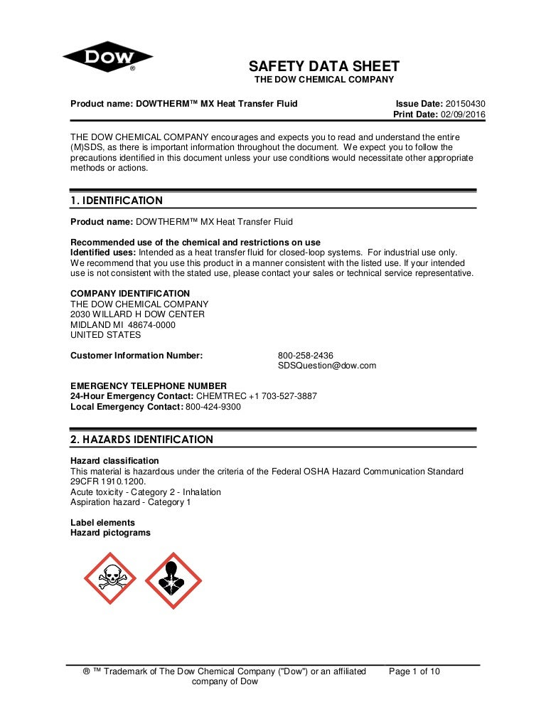 MSDS for DOWTHERM™ MX Heat Transfer Fluid