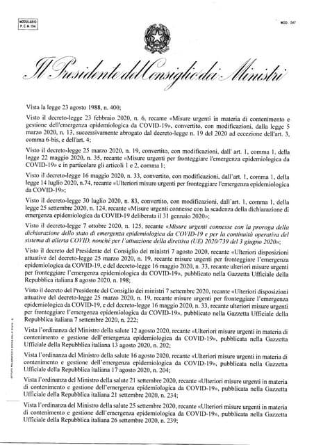 DPCM COVID del 13 ottobre 2020 (testo in Gazzetta Ufficiale)