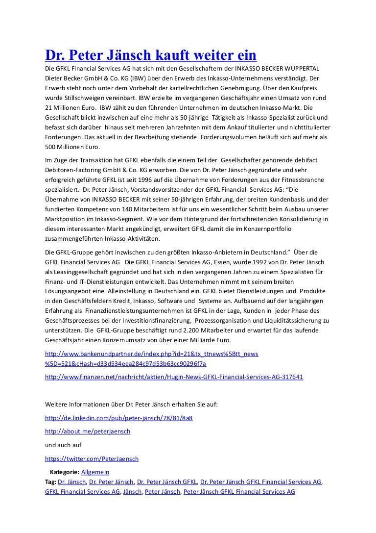 Dr Peter Jänsch Kauft Weiter Ein