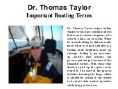Dr. Thomas Taylor- Important Boating Terms