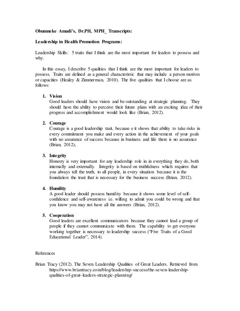 traits of a leader essay