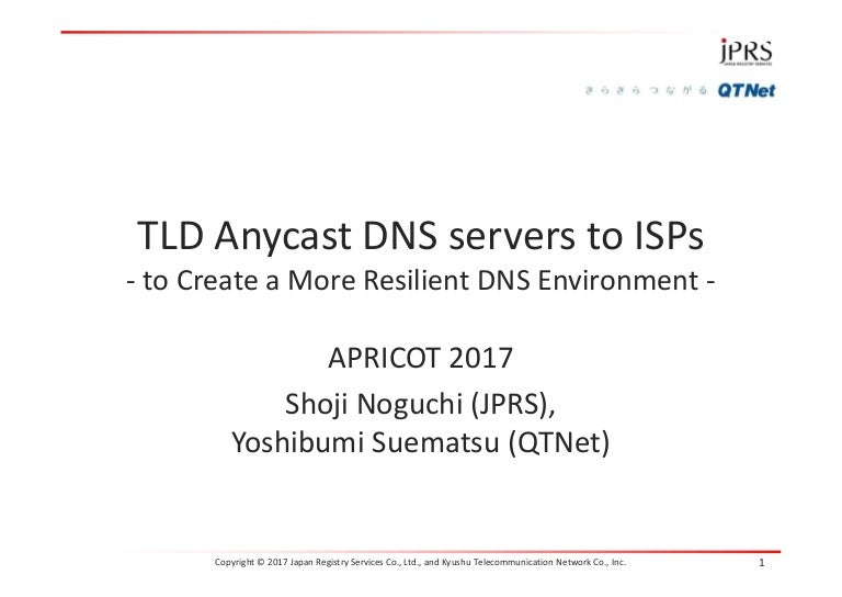 TLD Anycast DNS servers to ISPs