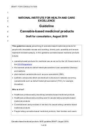 Draft guideline cannabis-based medicinal products by nice