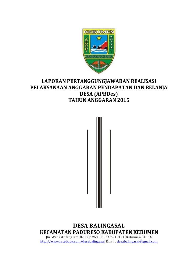 Laporan Pertanggungjawaban Realisasi Pelaksanaan Apb Desa Ta 2015