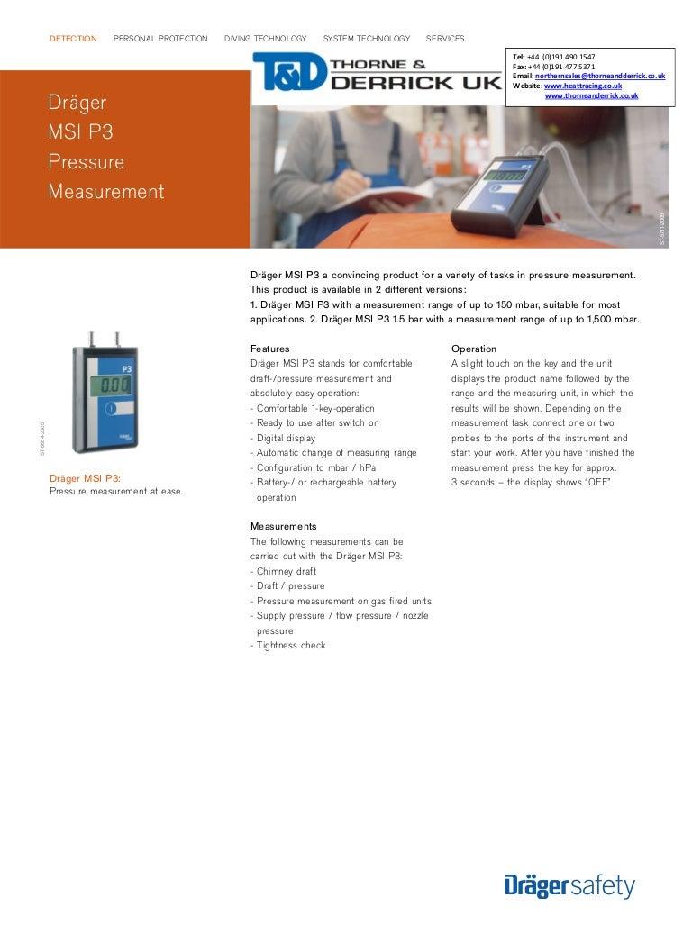 Drager MSI P3 Pressure Measurement Sensor - Spec Sheet