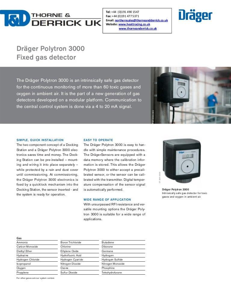 Drager Polytron 3000 Fixed Gas Detector - Spec Sheet
