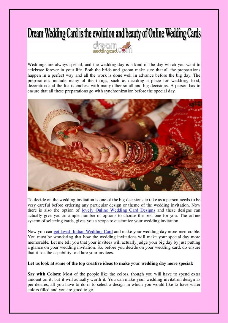 Dream Wedding Card is the evolution and beauty of Online Wedding Cards