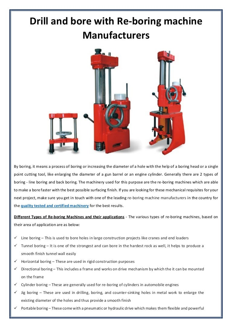 Boring Machines: Specifications, Manufacturers 47