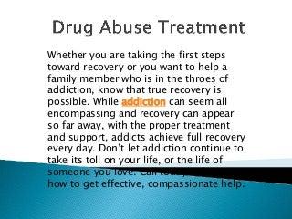 Drug Abuse Treatment - Reliable Detoxification Program