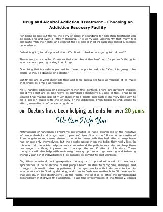 Drug and alcohol addiction treatment choosing an addiction recovery facility