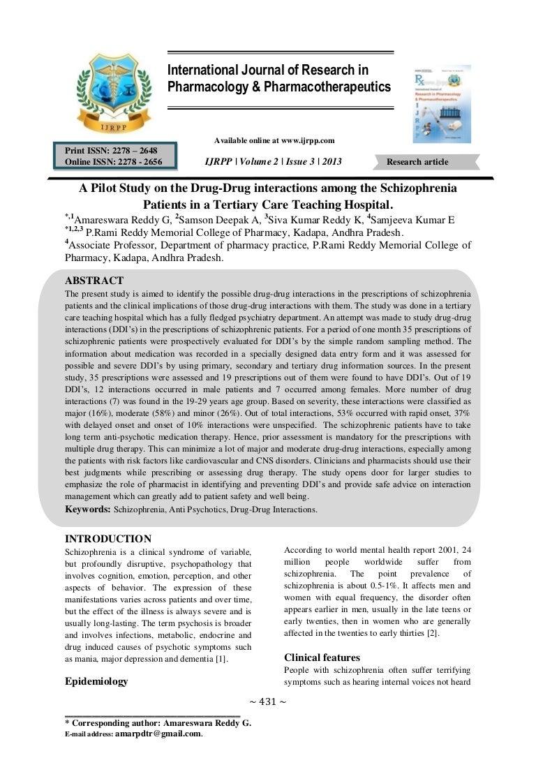 A pilot study on drug drug interactions among the schizophrenia pat nvjuhfo Images