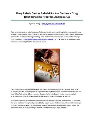 Drug rehabilitation program anaheim ca