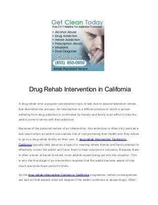 Drug Rehab Intervention in California