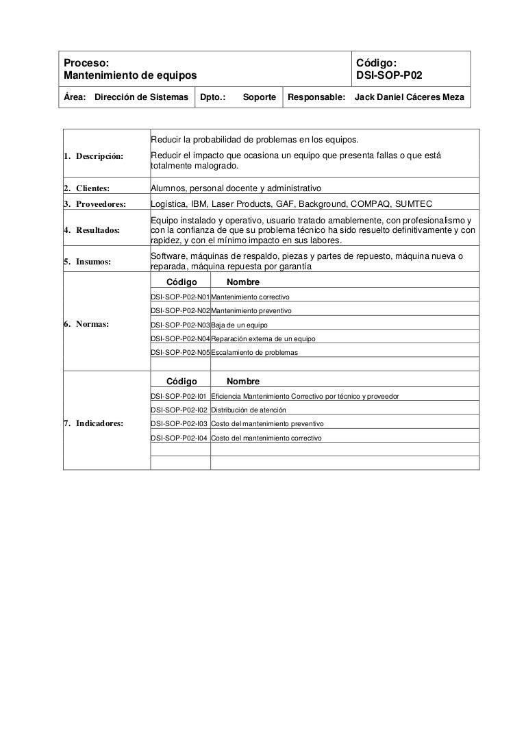 UPC-Soporte: Norma Mantenimiento de equipos