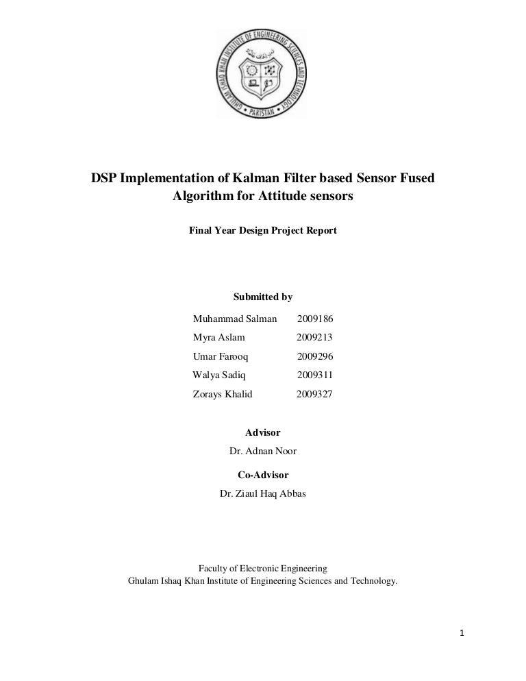 Dsp kit implementation of Kalman filter based sensor fused