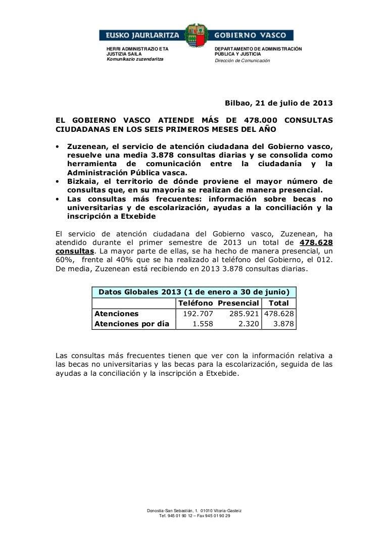 El Gobierno vasco atiende más de 478 000 consultas