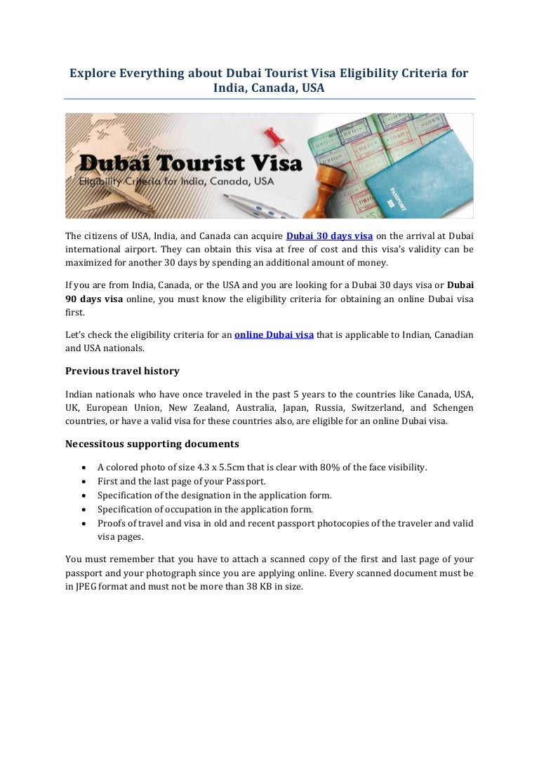 Dubai Tourist Visa Eligibility Criteria For India Canada Usa