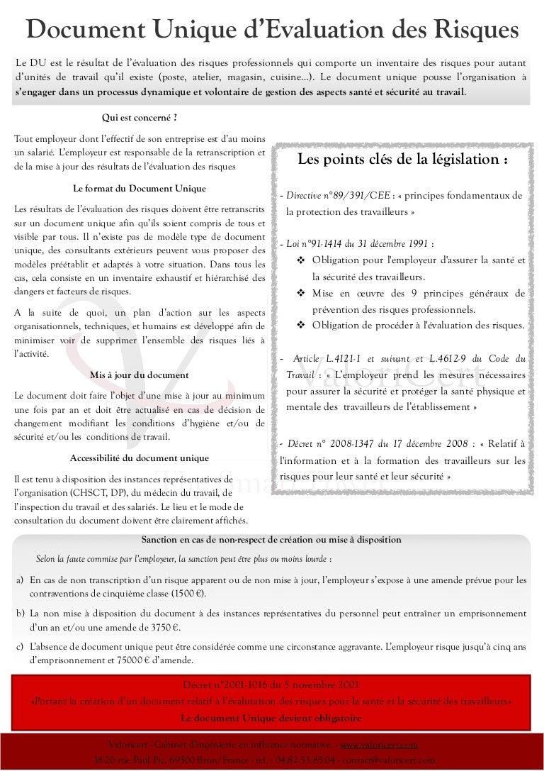 Document Unique D Evaluation Des Risques
