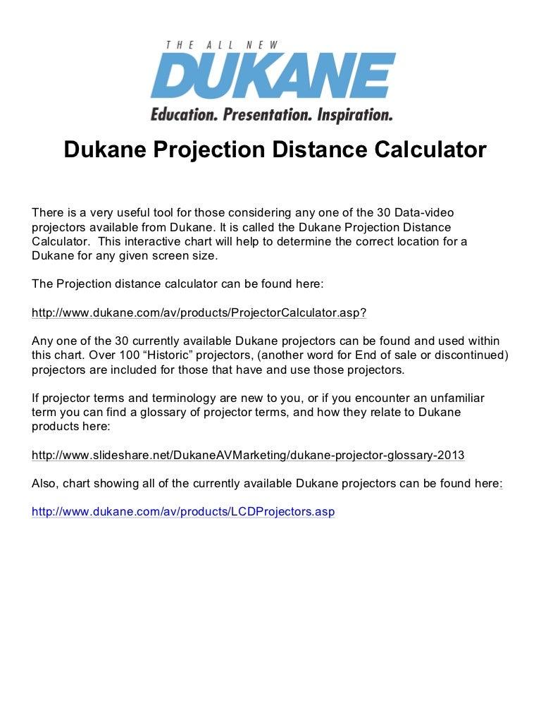 Dukane Projector Distance Calculator 2013
