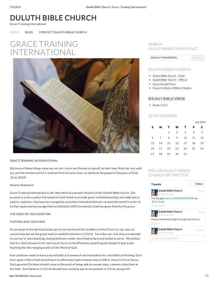 Duluth Bible Church Grace Training International