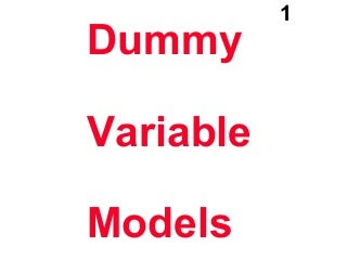 Dummy Variable Regression