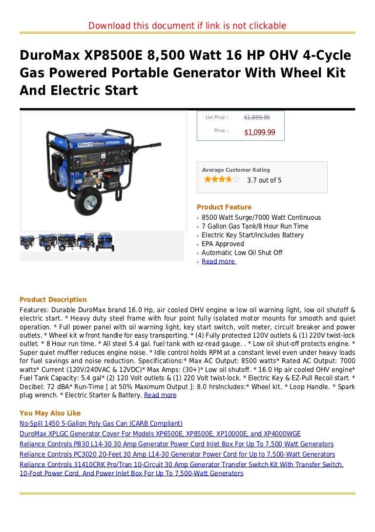 Duro Max Xp8500e 8500 Watt 16 Hp Ohv 4 Cycle Gas Powered Portable Ge Reliance Controls Pb30 L1430 30 Amp Generator Power Cord Inlet Box