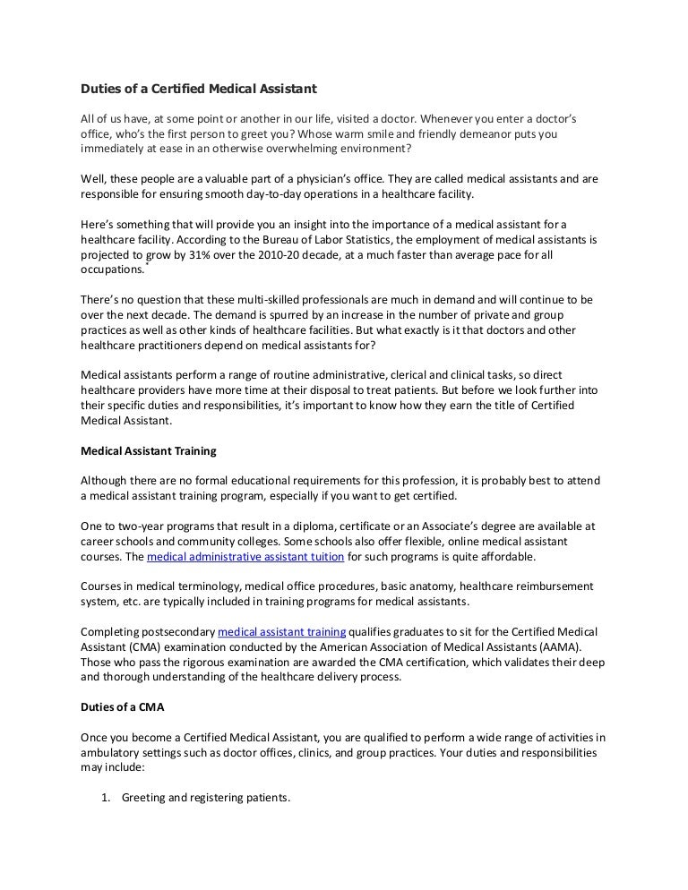 medical assistant description responsibilities