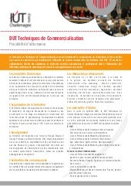DUT Techniques de commercialisation - IUT Charlemagne Université Nancy 2