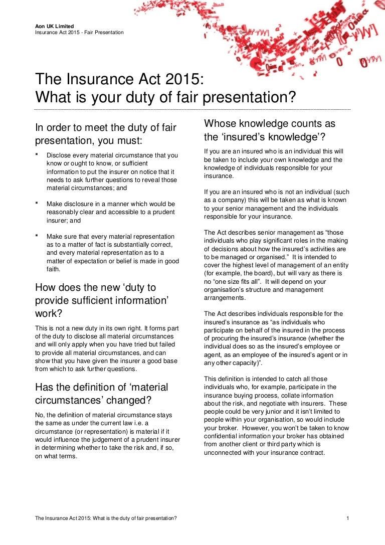 duty of fair presentation