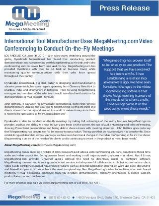 MegaMeeting.com Video and Web Conferencing Enhances Sheet Metal Company's Global Presence
