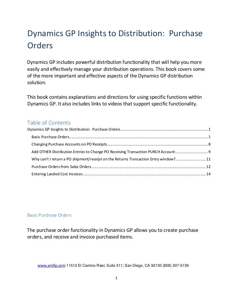 Dynamics Gp Insights To Distribution  Purchase Orders