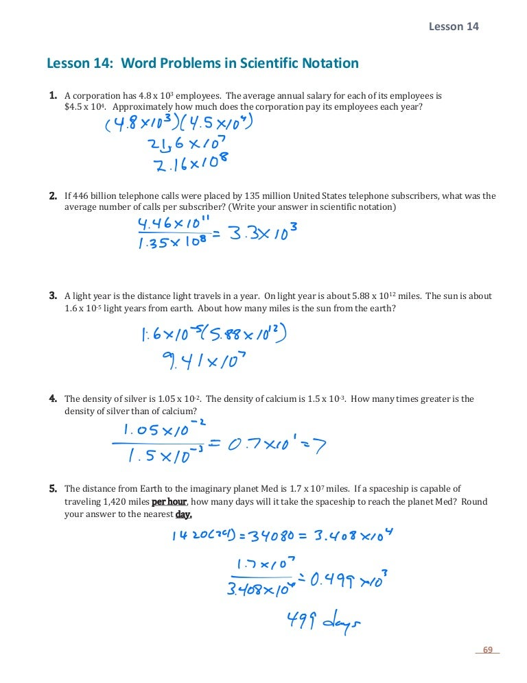 E.1 Lesson 14 Word Problems With Scientific Notation